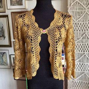 Golden crochet shrug